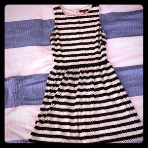 Saks black and white fit and flare dress